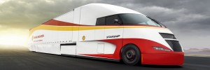 StarShip - Concept truck. Vehicle test drives on a road. USA, 2018 Colours: Red and Yellow.